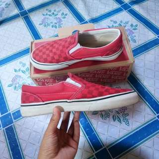 Vans Red Checkerboard Slip On