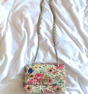 Floral Sling Bag with silver chain
