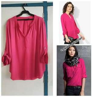 Dorothy Perkins fuchsia collarless blouse UK 18 2XL