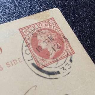 [lapyip1230] 大英帝國郵資明信片(錯郵印, 年釘只有一個數位) 1899/1909年