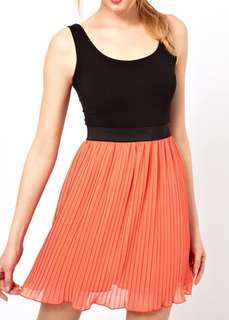 Asos love dress pleated skirt size small s