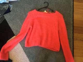 Orange fluffy knit jumper