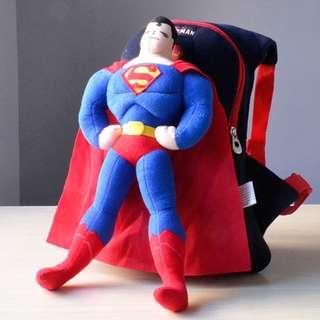 Cutie 3D Cartoon Plush Toy Backpack Outdoor Bag-Superman 1-4y