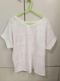 White Crochet Boxy Top