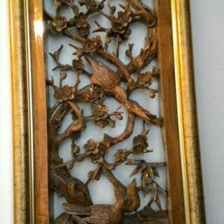 Antique  Chinese Crafted Wood Panel