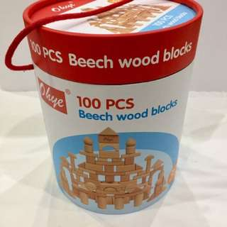 100 pieces beech wood blocks