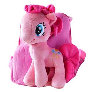 Cutie 3D Cartoon Plush Toy Backpack Outdoor Bag-Pony Pink 1-4y