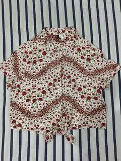 H&M floral tie front top