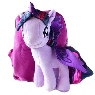Cutie 3D Cartoon Plush Toy Backpack Outdoor Bag - Purple Luna