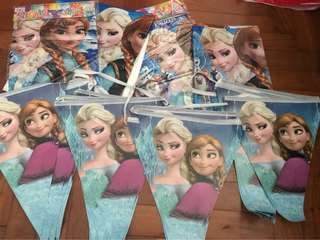 Frozen party supplies( decor flags and table cloth used once