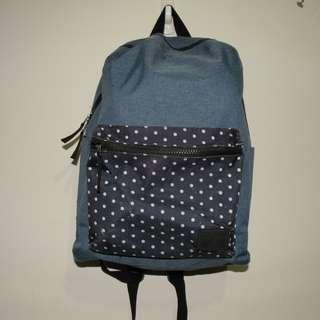 🚚 二手 Net 藍色斑點造型後背包