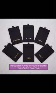 LM002-G-6mm- Personalised Cardholder 4 Slots (2+2) Black PU Leather Personalized Cardholder with PU Leather Lanyard Free Gold Monogram Max 8 CAP Initials -Made to Order