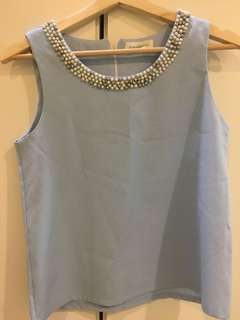 (Sales) Baby Blue Sleeveless Top with Faux Pearls