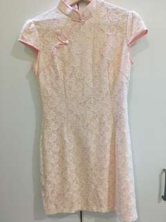 (Sales) Pink Lace Cheongsam