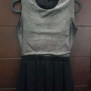 Silver Glitter Scaled Black Dress