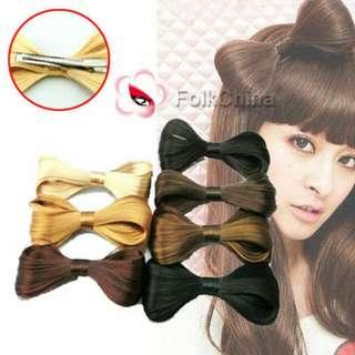 Black Fake Hair Bow Clip