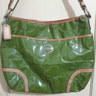 COACH Peyton Embossed Genuine Leather Convert HOBO Handbag Green-Tan F20022