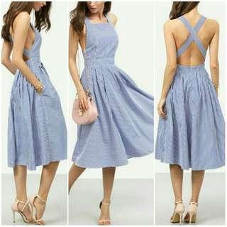 -Yunik- Summer Striped Cross Back Swing Dress