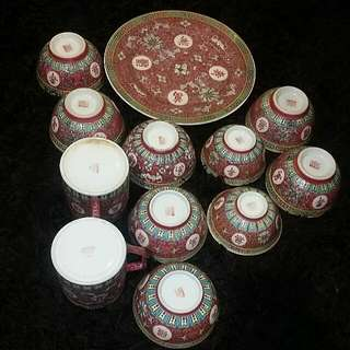 Mics 12 Pcs Red Chinese Antique  Vintage Wedding  Plate Bowls Mugs