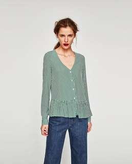 Zara Ruffled V Neck Top Shirt Blouse