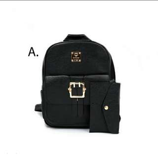 FD 2 in 1 Women's Korean Backpack and Purse