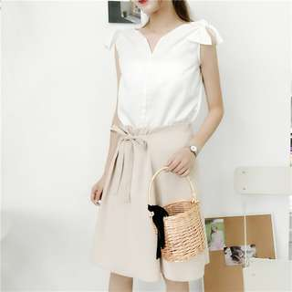 (Ready Stock) Women Skirt Midi Skirts Ribbon A Line Korean Fashion Pleated Skirt Office Wear