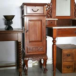 Small Antique Teak Cupboard with Cabriole Legs