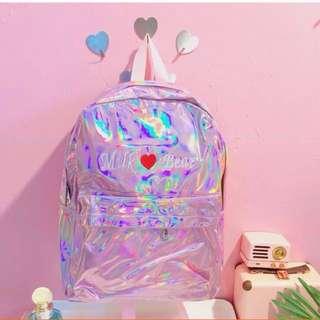 Korean Ulzzang: Holographic Statement Backpack Laser Hologram Bag