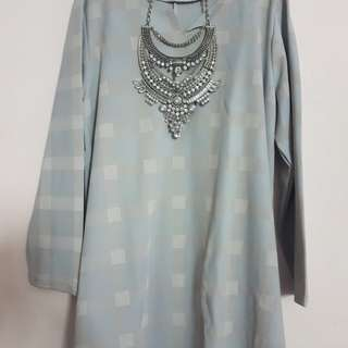 Preloved Grey Checkered Blouse - plus size
