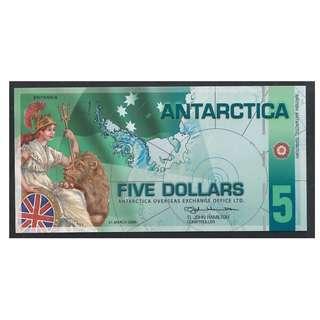 (BN 0100) 2008 Antarctica 5 Dollars Polymer Note - UNC