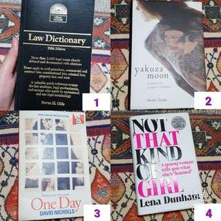 Law dictionary, Yakuza Moon, One Day, Lena Dunham