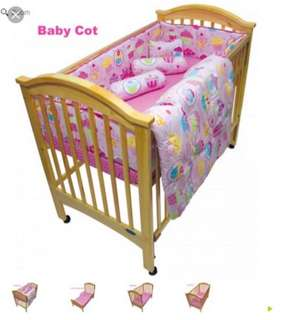 Preloved baby cot convertible to bed