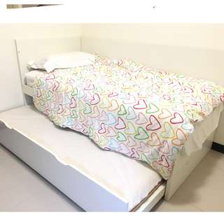 IKEA Twin BED with  mattress & drawer bed 子母床架和老K床墊