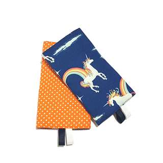 Unicorn Navy with Orange Polka Dots in Reverse Straight Drool Pads