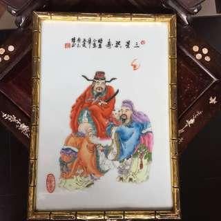 Frame Fulushou porcelain panel 福禄寿三星