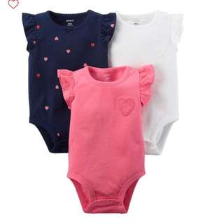 *12M* Brand New Carter's Flutter Sleeve Bodysuits For Baby Girl