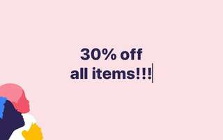 30% off all items