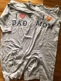 Bundle: Baby Gap I love Mum and Dad Long Sleeves Jumper Romper Onsie Sleep Suit