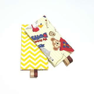Duffy Bear with Yellow Chevron in Reverse Straight Drool Pads