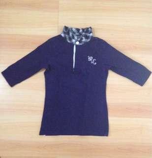 Authentic Ralph Lauren Blue Shirt with Tartan Collar