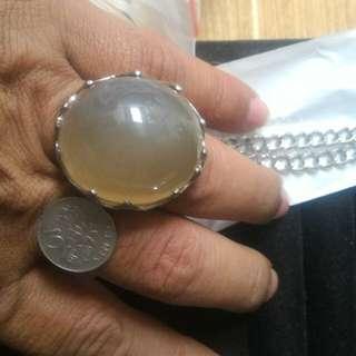 Batu Raja ring & titanium chain necklace