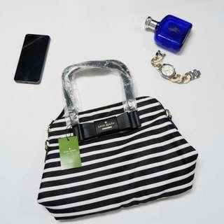 Kate Spade Black Stripes Dome Sling Bag