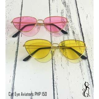 Cat eye aviators in rose pink and yellow