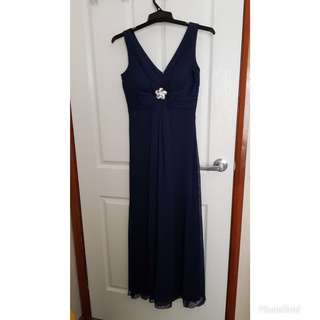 Mr K navy evening dress with diamanté embellishment