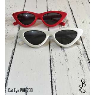 Cat eye sunglasses in red and white
