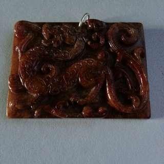 古玉龍彫方牌掛件(銀扣)