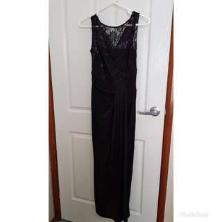 Elegant black dress with romantic lace front