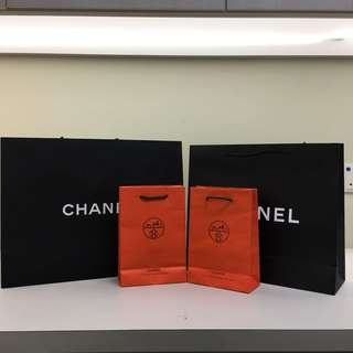 Chanel and Hermes Paper Bags