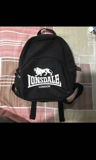 Black and white mini lonsdale backpack (reduced price)