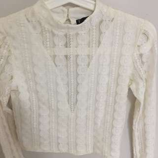 Miss selfridge cream lace top
